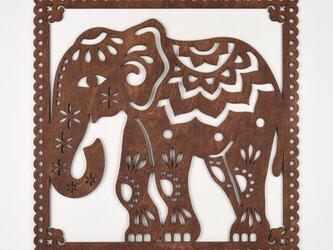 ビッグウッドフレーム「インドゾウ」(木の壁飾り)の画像