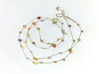 ふきよせ ネックレス[オレンジ]/ワックスコード, ガラスビーズ, 天然石の画像