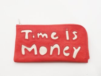 cow leather Long wallet [time is money](赤)18×9/財布/wl001timeの画像
