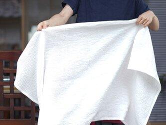 【wafu】【バスタオル/ワッフル】リネン ひざ掛け 肩がけ リネンケット おくるみ 速乾 防臭/ホワイトz023a-wht3の画像
