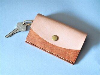 カード&キーケース イタリアンレザー×ヌメ革 キャメルの画像