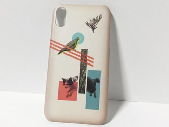 iphone【猫と鳩コラージュ】スマホケースの画像