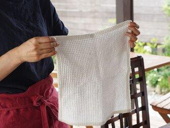 【wafu】【ハンドタオル/ワッフル】リネン100% ハンカチ おしぼり 速乾 防臭 防菌 /ホワイト z023c-wht3の画像