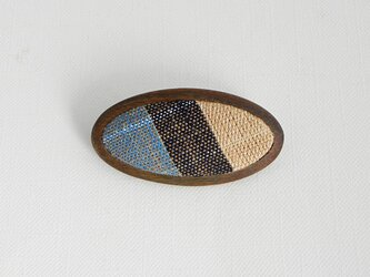 ブローチ -丹波布・パロサント楕円-の画像