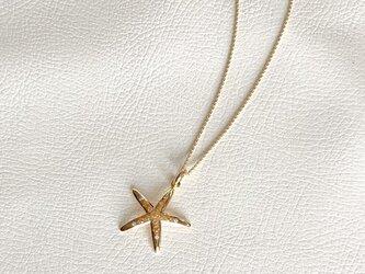 K18オレンジサファイア、ダイヤペンダント ーひとでのような星のようなーの画像
