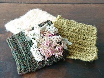 珈琲色の羊毛で作ったコースターの画像