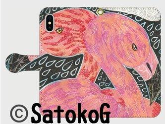 手帳型iPhoneケース/スマホケース/フラミンゴの画像