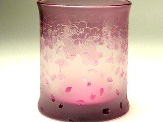 満開桜ロックグラス01 ピンク色 被せガラス 蕨硝子の画像