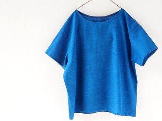 楽々ブラウス・変わり織り木綿の本藍染めの画像