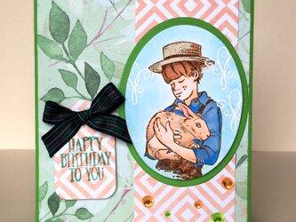 うさぎと少年のバースデイカードの画像