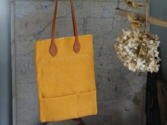 リネン×綿ナチュラルHANPU帆布ペタンコ縦トート#yellowの画像