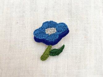 夏の花ブローチ(blue)の画像
