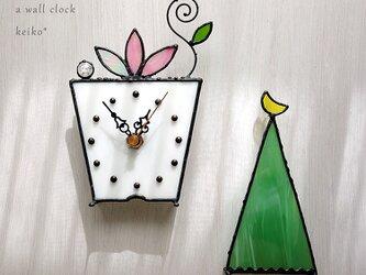 ステンドグラス*掛け&置き時計・プランツ(ピンク)の画像