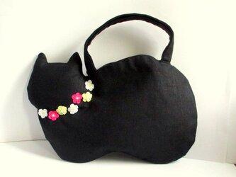 スラブリネン お花のネコバッグ*黒猫Aの画像