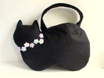 スラブリネン お花のネコバッグ*黒猫Bの画像