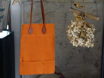 リネン×綿ナチュラルHANPU帆布ペタンコ縦トート#orangeの画像