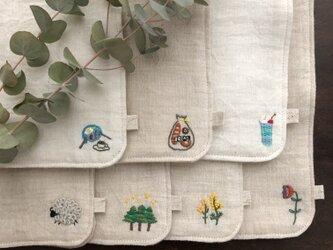 【デザイン7種】刺繍入りダブルガーゼハンカチの画像