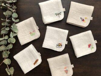 【デザイン7種】お子様用刺繍入りダブルガーゼハンカチの画像