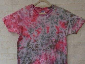 タイダイ染め レッドとグレーのまだら模様Tシャツの画像