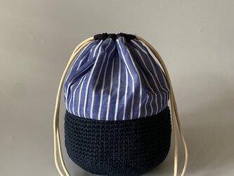 麻糸とコットンの巾着バッグの画像