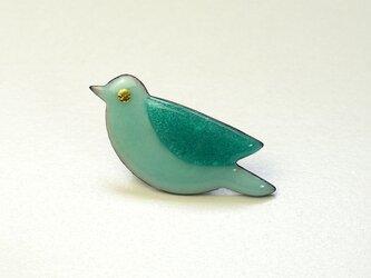七宝焼ブローチ 青い鳥 (白蒼)の画像