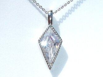 ☆送料無料☆ 本ロジウムダイヤシェイプCZ超極細ネックレスの画像
