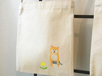 柴犬 キャンバス ミニ サコッシュ ★ お散歩バッグ 赤柴 黒柴 タンポポ アイロンシートの画像