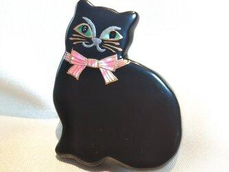 蒔絵ブローチ 黒猫(赤)の画像