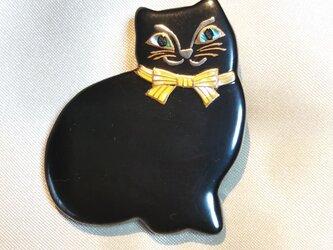 蒔絵ブローチ 黒猫(黄)の画像