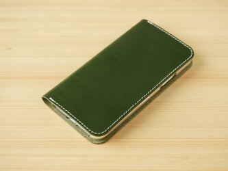 牛革 iPhone 11 Pro カバー  ヌメ革  レザーケース  手帳型  グリーンカラーの画像