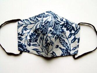 夏仕様 天然藍の型染めリバーシブルマスク  の画像