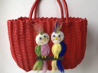 koruri × workshopcolore カゴバッグ 鳥の画像
