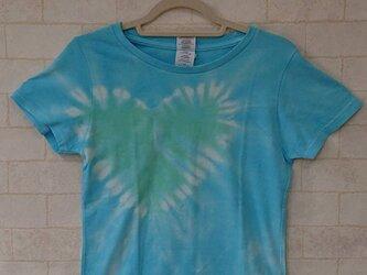 タイダイ染め アクアマリンのさわやかな♥レディースTシャツの画像