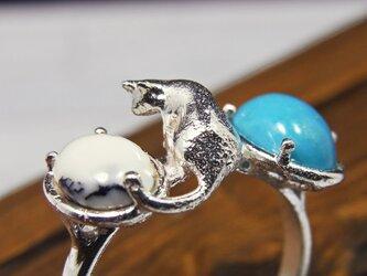 ターコイズと猫  Turquoise & Cat Ring ⑦の画像