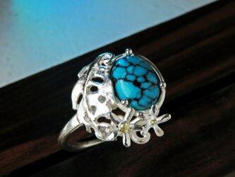 ターコイズ & モンステラ リング * Turquoise Ringの画像