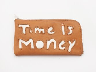 cow leather Long wallet [time is money](黄)18×9/財布/wl001timeの画像