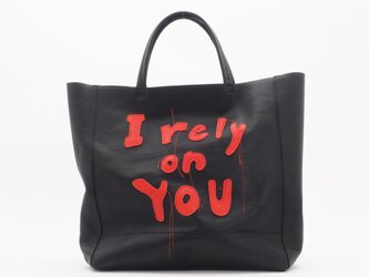 """goatleather hand bag""""I rely on you""""(黒)/山羊革/T031の画像"""