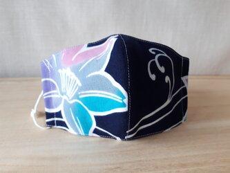 立体マスク[Lサイズ]*ゆかた紺地(N柄)×白の画像