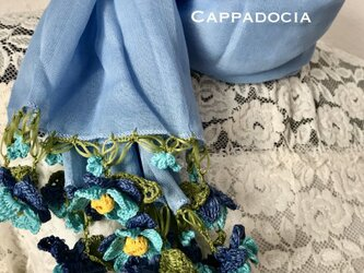 立体刺繍の花付き コットンストール ライトブルー&ブルーミックスの画像