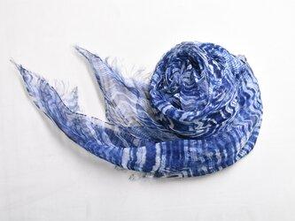 麻 藍染ストール [ハーフサイズ]の画像