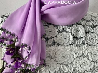立体刺繍の花付き シフォンストール ラベンダーの画像