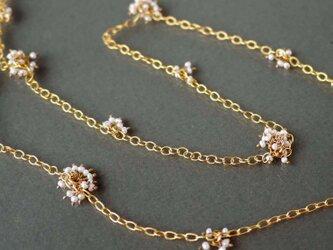 淡水真珠の14kgf ロングネックレス「米の花」の画像