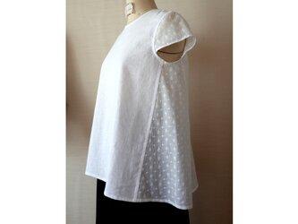 ♡半額sale♡S-M 白いフレンチコットンレースがポイントの小さな袖付きブラウスの画像