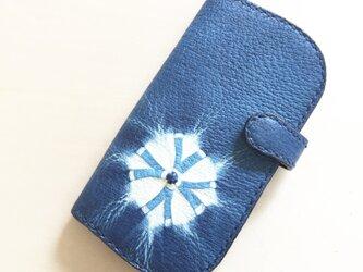 藍染め(絞り染め)手帳型iPhoneケース6~8用の画像