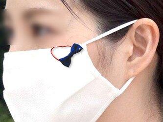 マスククリップ ミニリボン ネイビー ストーン入り 金属アレルギー対応済みの画像