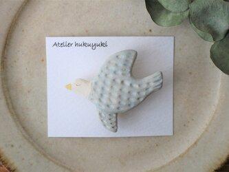 陶器で作った鳥のブローチ D( 空色 )の画像