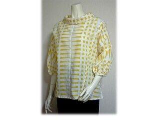 49 浴衣リメイク可愛いレトロ衿プルオーバーシャツ(白×黄)の画像