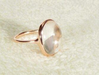 A様、オーダー品_10.90ctヒマラヤ水晶とSV925の指輪(ピンクゴールドの厚メッキ、ふくりん、4月の誕生石、クオーツ)の画像