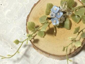 青いブーケのポニーフックの画像