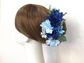ウェディング・成人式に♡ブルーローズと紫陽花のヘッドドレス(16本セット) 薔薇 ブルースター 結婚式 成人式の画像